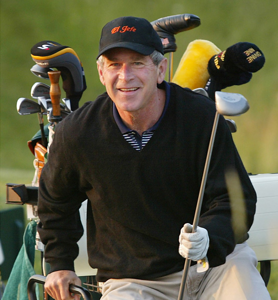 """I have to credit him for giving up golf while the war in Middle East was on. He thought it was a bad look for him to be playing golf while our military was overseas."" —Sports Illustrated senior writer Gary Van Sickle. Photo: President Bush celebrates his 56th birthday with a round of golf at the Cape Arundel Golf Club in Kennebunkport, Maine, on July 6, 2002."