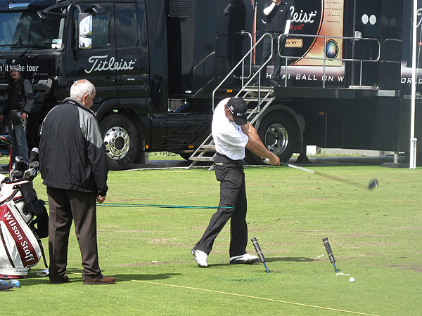 missed the cut this year at the Open Championship. That didn't sit well with the two-time winner, so he practiced for more than two hours Saturday morning using several training aids.