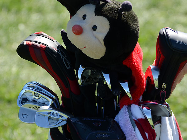 Padraig Harrington recently switched to Wilson's new FG Tour V2 irons, but he is still using a ladybug driver headcover.