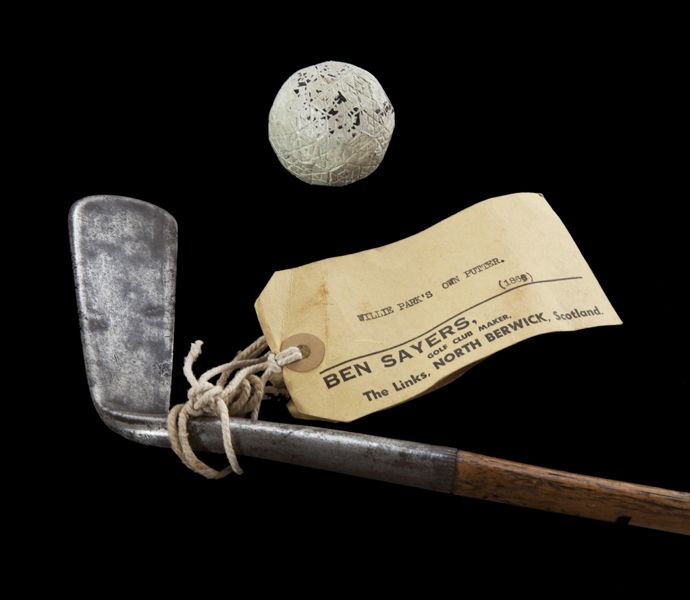 A ball and club used by Willie Park, Jr., circa 1880s.