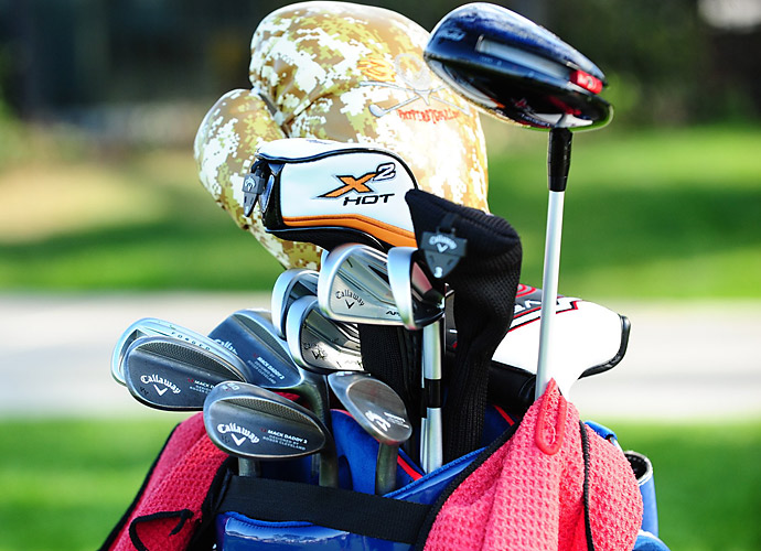 Pat Perez rocks Callaway Apex Pro irons and a camouflage boxing glove driver cover.
