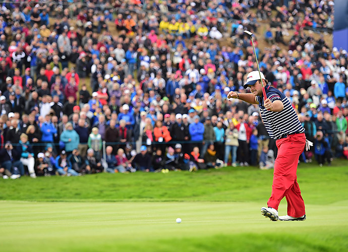Patrick Reed was one of the few bright spots for Team USA on Sunday. Reed beat Henrik Stenson 1 up.