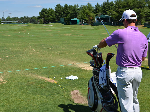 Paul Casey spent several minutes making absolutely sure his alignment stick pointed straight at his target.