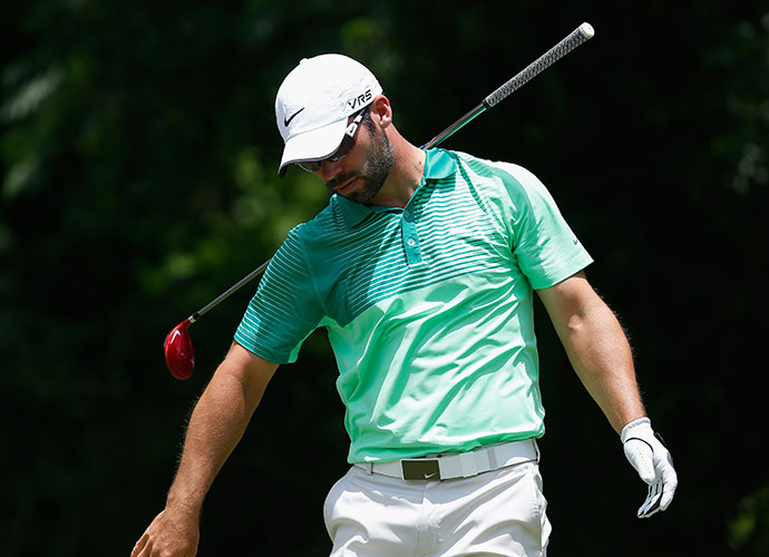 Paul Casey reacts to a shot on the 6th hole. He opened with an even par 70.