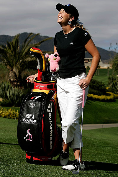 Putting her amateur career behind her, Creamer turned pro after winning the 2004 LPGA Tour Qualifying School. She posed for photos before one of her first events as a professional, the MasterCard Classic in Mexico City.