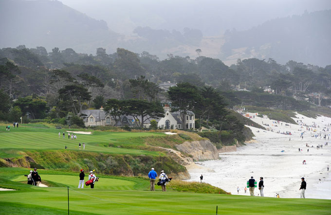 14. Pebble Beach Golf Links -- No. 9, 466-yard Par-4                                          Stroke Average: 4.376                      Sibling rivalry is as old as civilization itself. In 2014, the 466-yard par-4 9th hole at Pebble Beach was fractionally edged in difficulty by Pebble's 10th hole—4.463 to 4.376. Together, however, these oceanside tests form the hardest back-to-back holes on tour.