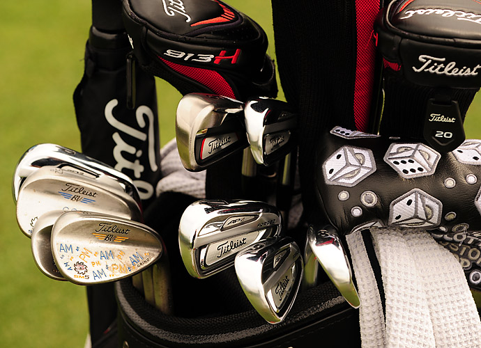 Peter Malnati carries Titleist AP2 irons, custom-stamped Vokey wedges, a Titleist 913H hybrid and Scotty Cameron custom shop putter.