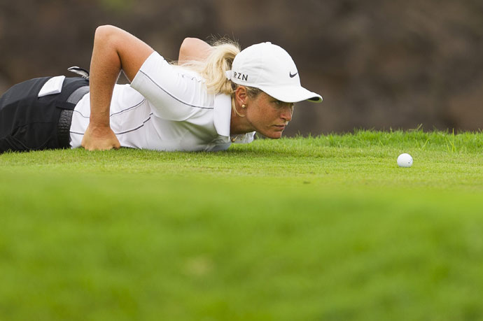 Suzann Pettersen reacts to missing a birdie putt at the Solheim Cup.