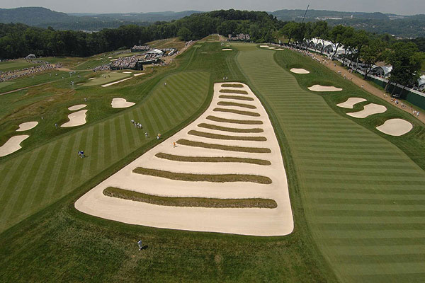 """NBC Sports generously allowed me to hang a remote camera on their tower above the Church Pews at Oakmont during the U.S. Open. Nick Francalancia, my assistant, triggered the camera with a radio remote whenever someone went into the bunker."""