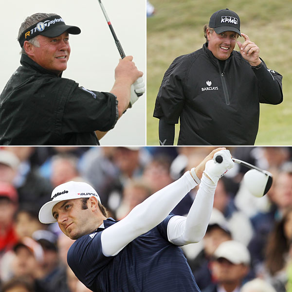Short-sleeved rain wear was important. The top three finishers at Royal St. George's all wore it at one time or another — some with compression shirts beneath, like Mickelson and Johnson; others with bare arms (Clarke). It's a way to keep dry but feel unrestricted.