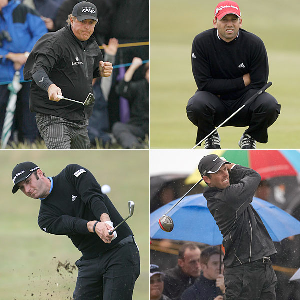 "If the U.S. Open was a study in scarlet, then the British was a ""Paint it Black"" affair. It had something to do with conditions, which brought out the all-black rain suits, but plenty of pros saw the red door and wanted to paint it black anyway. Dark knights of the fairway included Phil Mickelson (top left), Sergio Garcia (top right), Charl Schwartzel (bottom right), and Dustin Johnson (bottom left)."