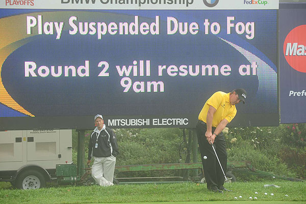 Round 2 at the BMW Championship                                              The original plan was for all players to complete 36 holes on Saturday at Bellerive, but a fog delay of 90 minutes ensured that would not be possible. However, players like Phil Mickelson took advantage of the delay to get in a little practice.