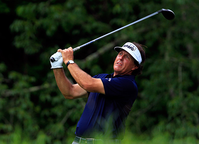 Phil Mickelson struggled in the first round of the Greenbrier Classic, shooting a 74.