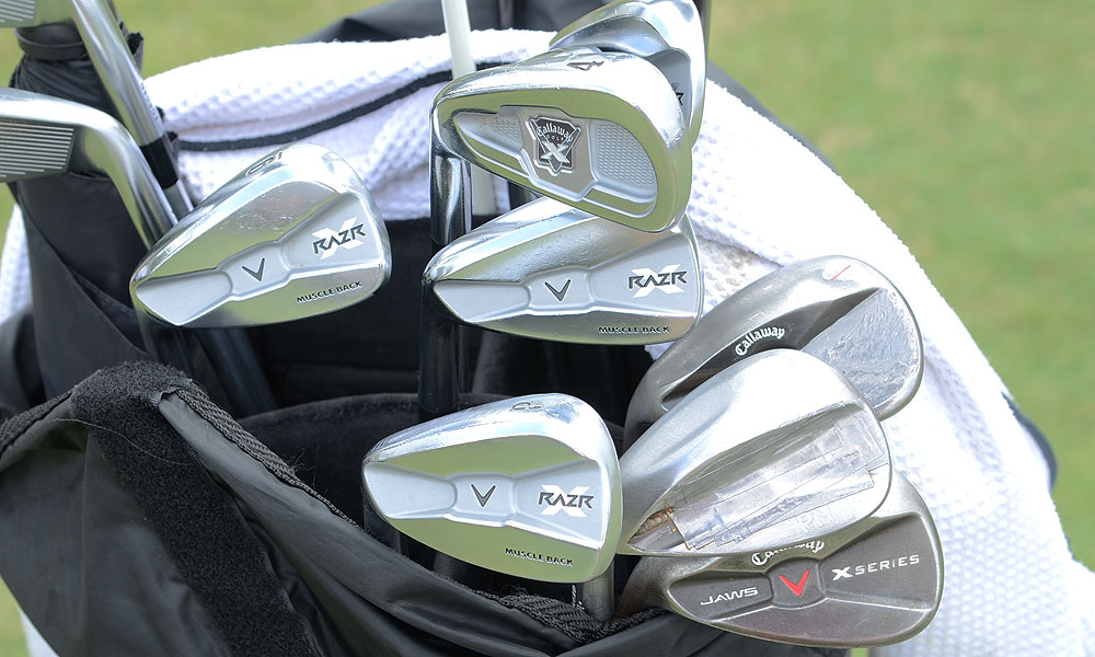 Mickelson uses a Callaway X-Forged 4-iron. The rest of his irons are Callaway RAZR X Musclebacks and he uses X Series JAWS wedges.