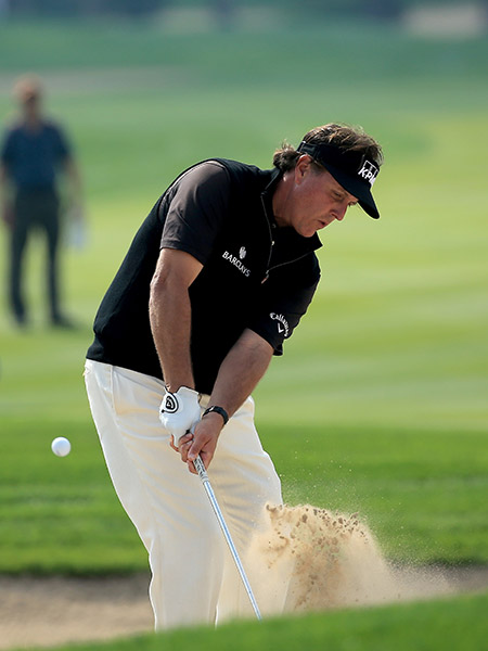 "After 17 straight pars, Mickelson bogeyed 18, carding a 1-over 73, six shots off the lead. ""I can't recall the last time I had a round without a birdie,"" Mickelson said. ""But didn't make a bogey there until the last."""