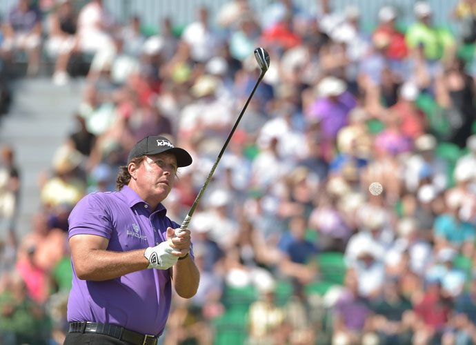 """I don't like the score, but I love the way I'm playing. It's very encouraging to me,"" Mickelson said."