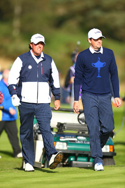After defeating Rory McIlroy and Sergio Garcia in the morning four ball, Phil Mickelson and Keegan Bradley teamed again to take on Graeme McDowell and Victor Dubuisson in the afternoon foursomes.