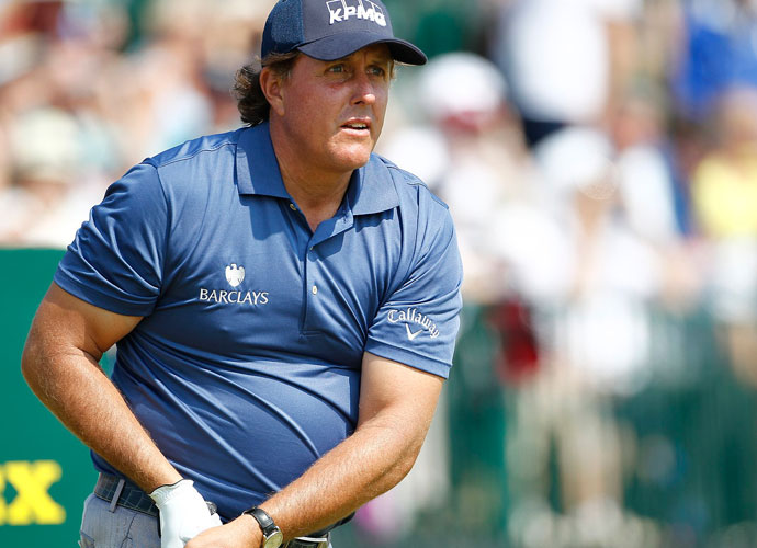 FRIDAY                     Phil Mickelson kept himself in contention with a 2-under 70 in the second round. It was the first time he has broken par in a major since winning last year's Open at Muirfield.
