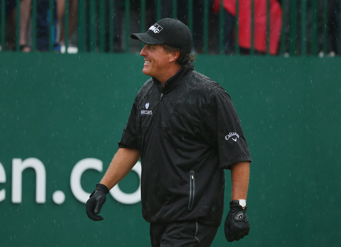 Phil Mickelson didn't seem to mind the bad weather as he turned in another up-and-down round of 71.