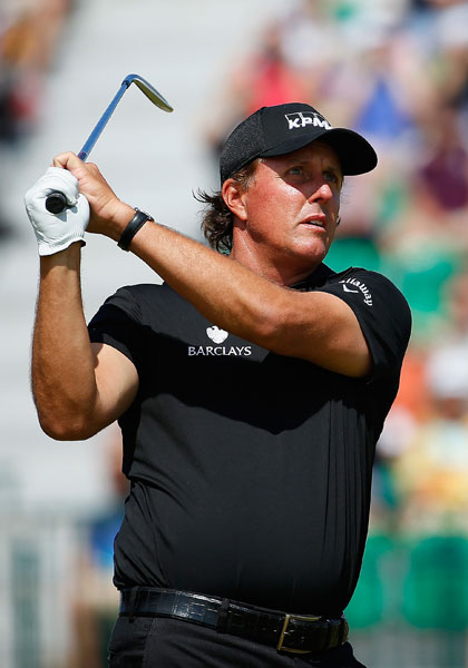Defending Open champion Phil Mickelson shot 68 on Sunday, his best round of the week. He was -5 for the tournament.