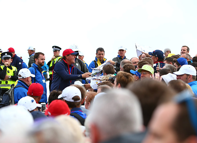 As usual, Mickelson was mobbed with fans wanting autographs Thursday.