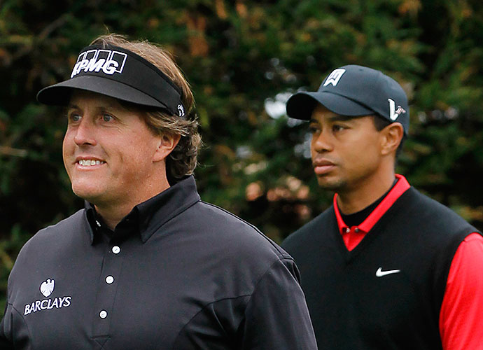 Phil Mickelson: Publicly, things have been mostly chilly between Woods and his biggest on-course rival, with a couple hot spots during their failed Ryder Cup pairing, and in 2003, when Phil bashed Tiger's Nike gear. But in recent years, their relationship has improved. Mickelson talked about missing Woods at the 2014 Masters after Woods' back surgery, and Mickelson and Woods now part of a small team that selects captains for the U.S. Ryder Cup team.