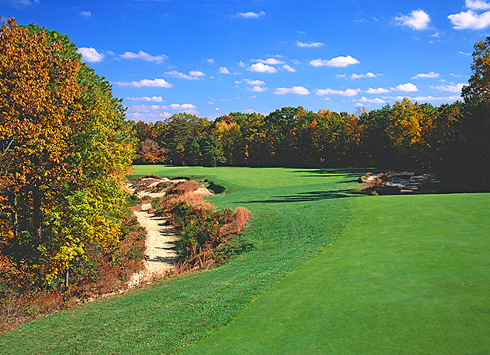7. Pine Valley Golf Club, Pine Valley, N.J., No. 13, par-4: The finest hole at the world's top-ranked course is this 486-yard, dogleg left. The risky drive will flirt with nasty bunkers set into the left elbow, while the safe drive down the right will face an impossibly long second shot. Similar risks continue for the approach. Not hard to make 5, but a very tough 3 or 4.