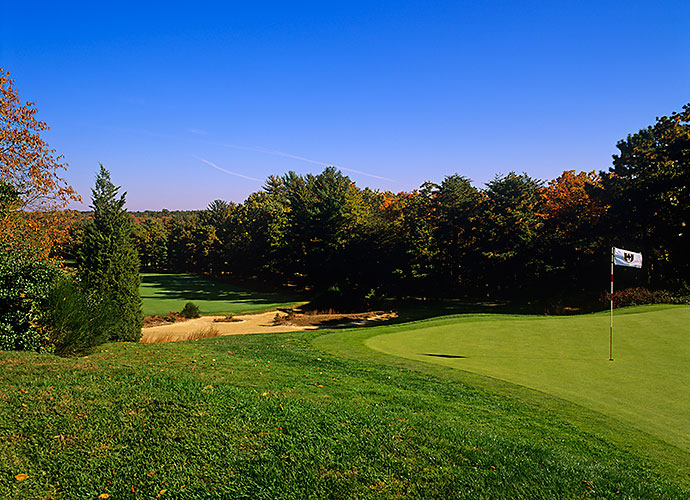 12. Pine Valley Golf Club, Pine Valley, N.J., No. 2, par-4: The quintessential shot of Pine Valley is of the 368-yard 2nd, with its striking view from the tee and its terror-inducing green perched atop a ledge and surrounded by sand. The wide fairway tempts one to blast away off the tee -- and pay a terrible price for straying.