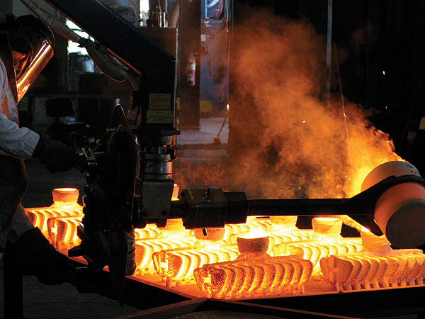At Ping's foundry in Scottsdale, metal is superheated until molten and poured into molds. When the metal cools, the molds are broken apart and the clubheads are then inspected, cleaned, polished, checked for defects and made ready for assembly into clubs. The only clubs that Ping produces that are not cast at the company's foundry are those that use titanium (drivers and the S57 irons).