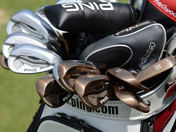 Plenty of Ping Tour-S Rustique wedges were waiting outside the company's tour van for players to try.