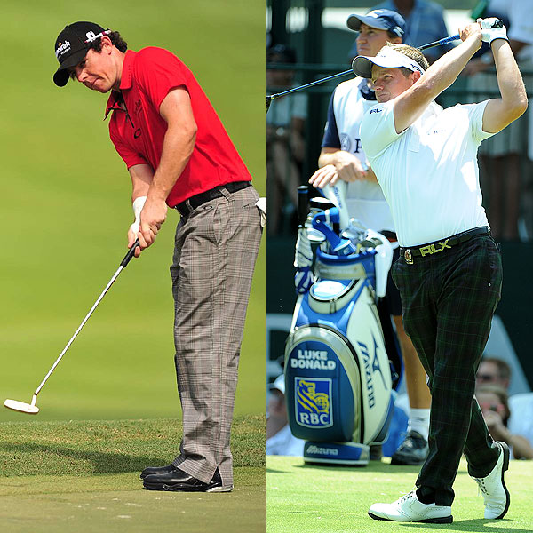 """Windowpane-check trousers — that is, a basic plaid with a larger overplaid, or  """"windowpane""""  —  looked good on several players, including Luke Donald and Rory McIlroy (shown), as well as Matt Kuchar and the eventual winner, Keegan Bradley, on Thursday."""