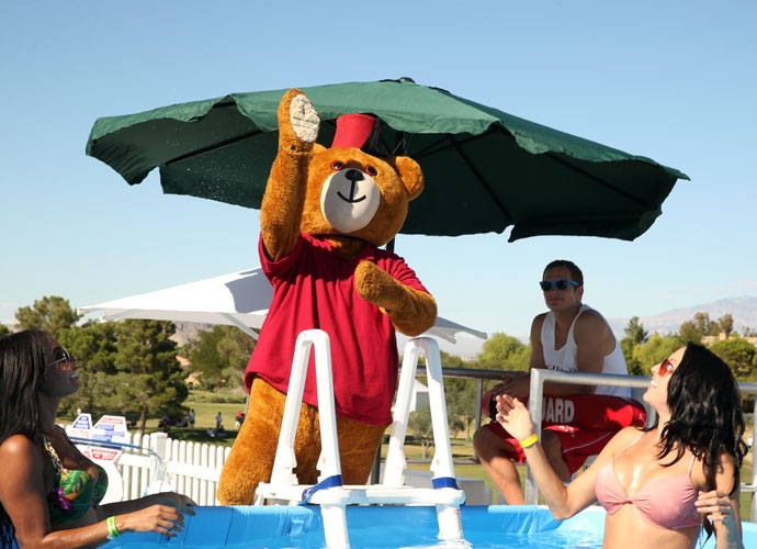 The Shriners mascot arrived poolside to greet fans.