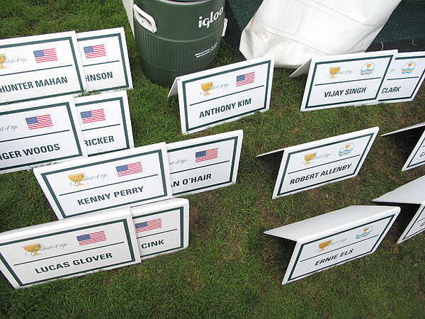 attendants place signs behind the players, but no one really needs help identifying the stars at Harding Park this week.