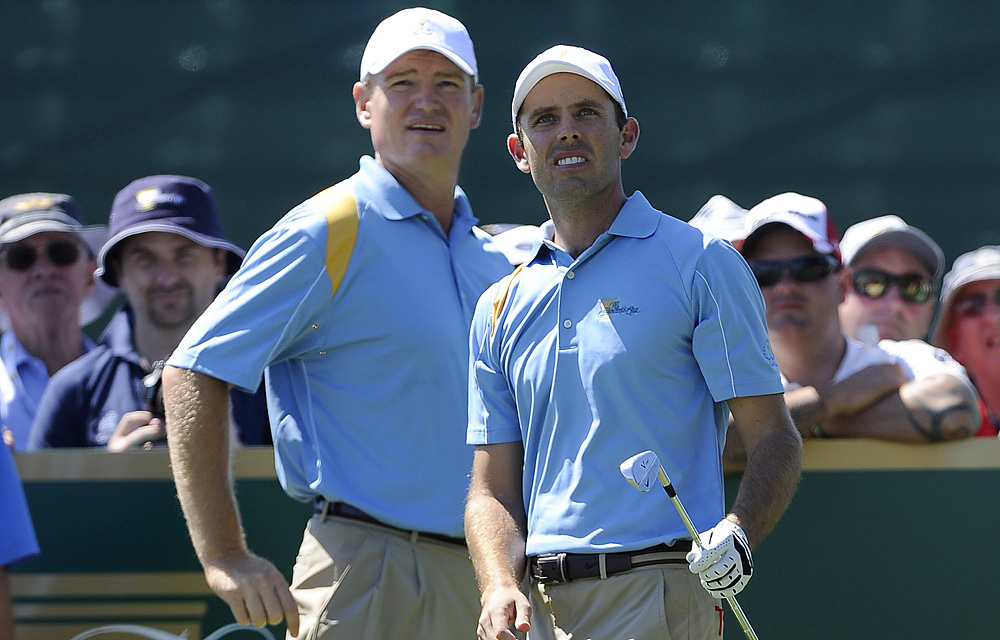 Presidents Cup veteran Ernie Els teed up with Cup rookie Charl Schwartzel on Tuesday.