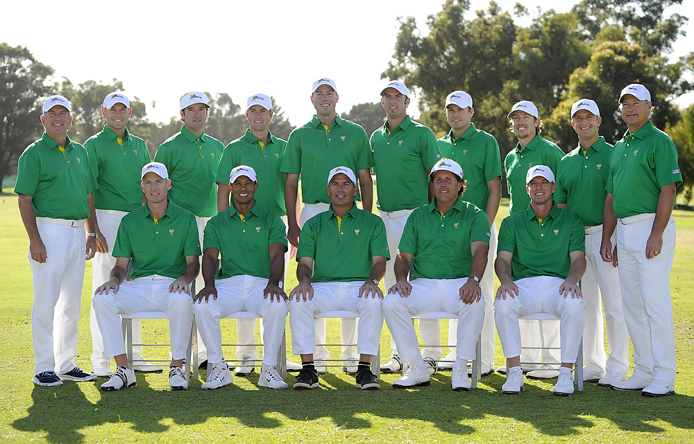 The U.S. team wore Australia's national colors during its Tuesday practice round.