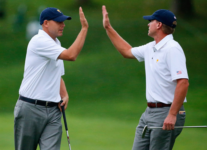 Bill Haas and Steve Stricker defeated Adam Scott and Hideki Matsuyama 4 & 3.