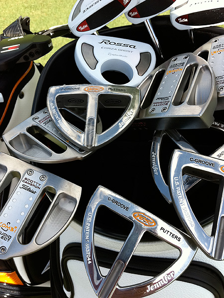 Plenty of putters were tested, in a variety of shapes, colors and sizes.