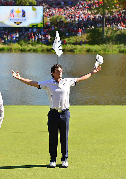 McIlroy took at bow on the 17th green at Medinah after beating Keegan Bradley, 2 and 1, in Sunday singles at the Ryder Cup. McIlroy's European team completed an improbable Sunday comeback to retain the Cup.