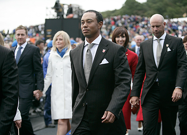 Tiger Woods entered the ceremony solo.