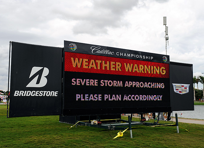 An approaching thunderstorm stopped play for about two hours, so the opening round had to be suspended due to darkness, The 62 players who failed to finish will complete their rounds on Friday morning.