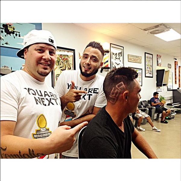 """Rickie Fowler's Ryder Cup hair inspired a trend back home, and with former PGA Pres Ted Bishop. Rickie: """"Thanks to my boys over at @youarenextbarbershop for getting me Ryder Cup ready...the week is here #RyderCup #TeamUSA #Believe @pgacom"""""""