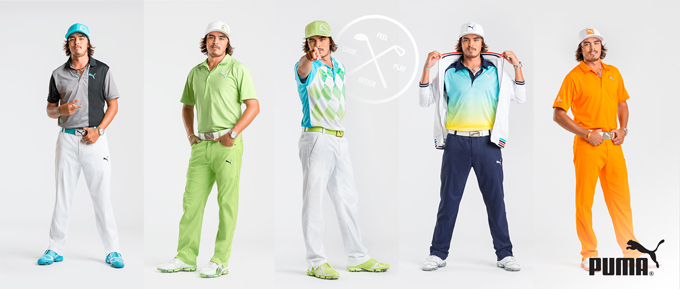 I love the fact that Puma actually photographed Rickie in all of his Masters looks. Wednesday's outfit is my favorite, hands down. The blue accents coupled with black, gray and white are striking and surprisingly understated for the neon-loving Fowler. Thumbs up!