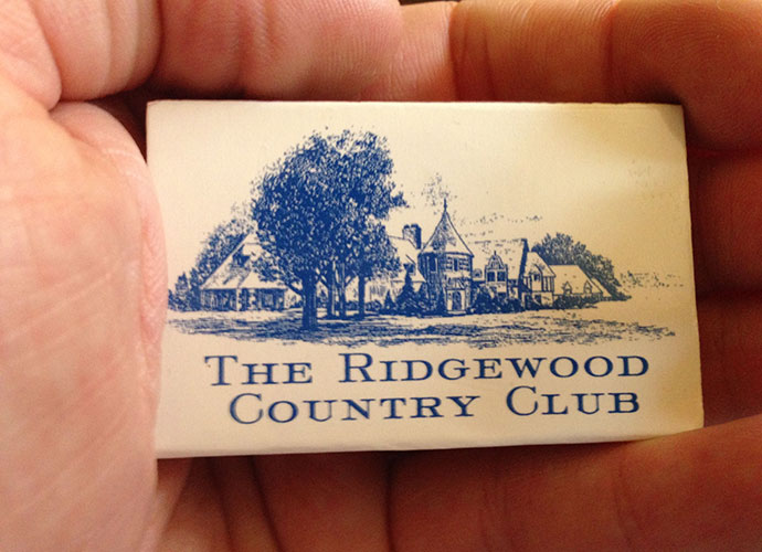 I wish I could tell you that this matchbook from New Jersey's Ridgewood symbolized how I was smoking my drives, but no such luck in two trips around this classic A.W. Tillinghast design, that's hosted the 1935 Ryder Cup, 1974 U.S. Am, 1991 U.S. Senior Open and more recently the 2008 and 2010 PGA Tour Barclays events. The Norman Revival clubhouse is one of my favorites.
