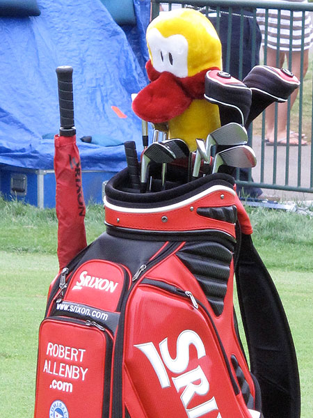 is intense on the course, but his sense of humor can be seen in his choice of headcovers.