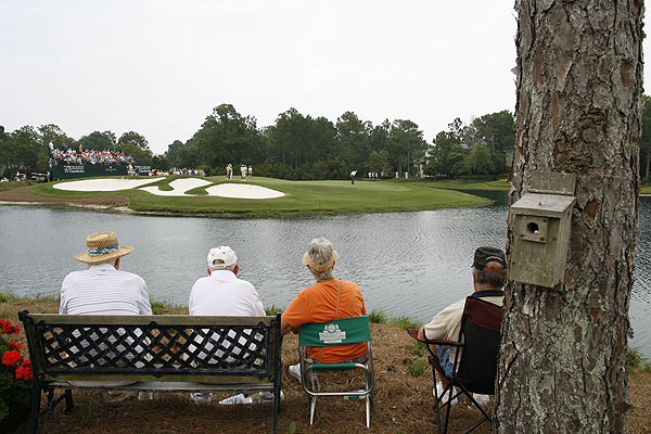 """What you see are spectators watching Loren Roberts putt during the Boeing Championship at Sandestin, a Champions Tour event. What you don't see is the mother bird — who was camera shy — in the birdhouse. I waited more than an hour, but I could never get the bird, the golfers and the spectators in the same shot."""