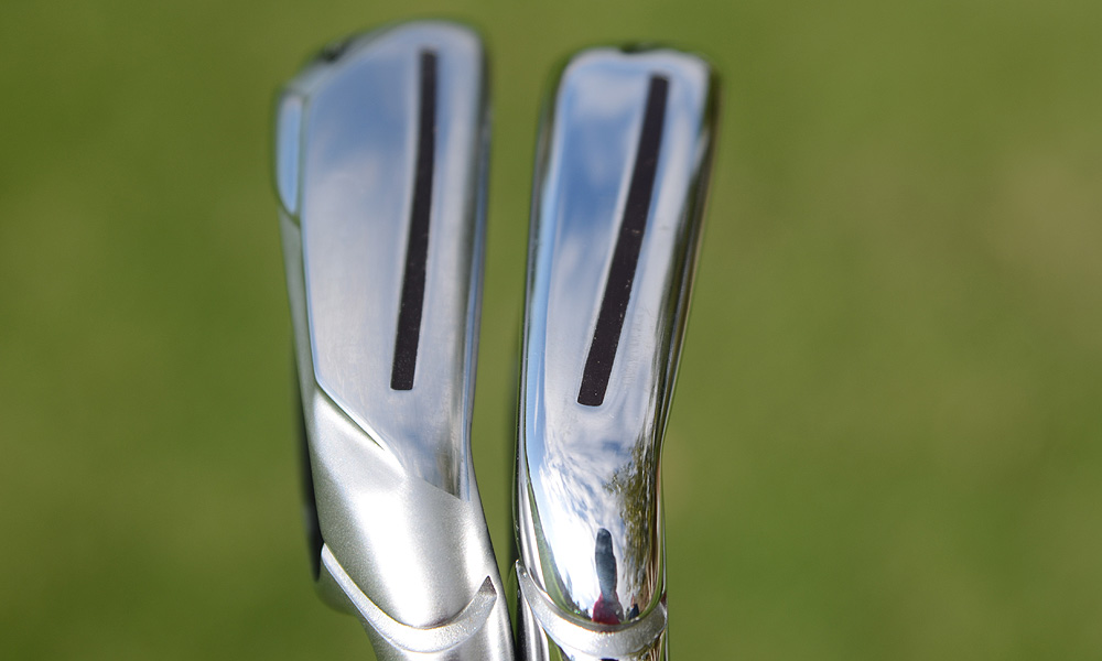 The RocketBladez irons (left) have a wider sole and larger heads than the RocketBladez Tour irons.