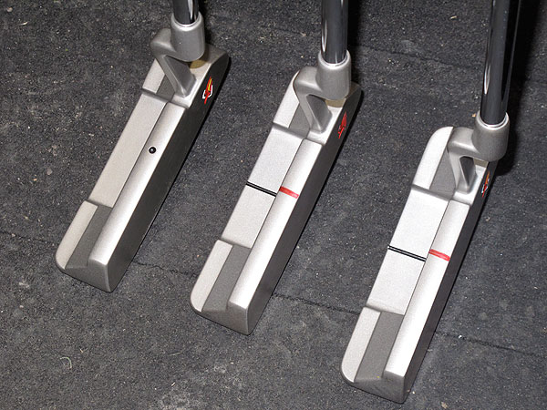had reps in the TaylorMade truck bend and tweak three of his Rossa Daytona putters. His gamer has 3° of loft and a 70° lie angle, but depending on the speed and softness of the greens before the tournament starts, he may go with a Daytona with slightly more or less loft. And yes, he uses different alignment aids too.