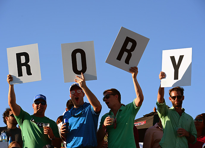 A quartet of satisfied McIlroy fans show their appreciation.