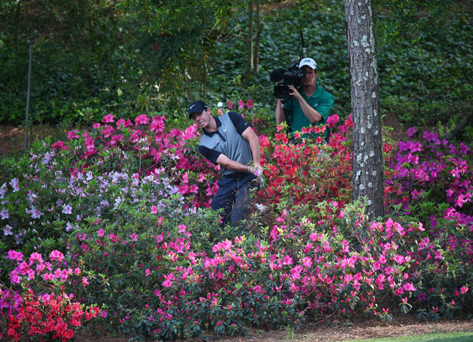Rory recovered from these flowers on the way to his eighth-place finish at the Masters in April. It was his second consecutive top 10 after a T7 the week before in the Shell Houston Open. He followed up the Masters finish with a T8 in the Wells Fargo Championship and a T6 at the Players Championship.