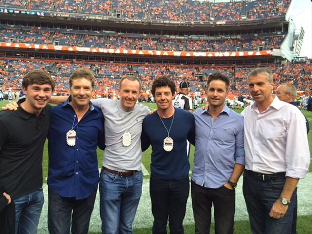 @McIlroyRory What a great night with these guys! @Broncos @MITCHELLT20 @oflahesa